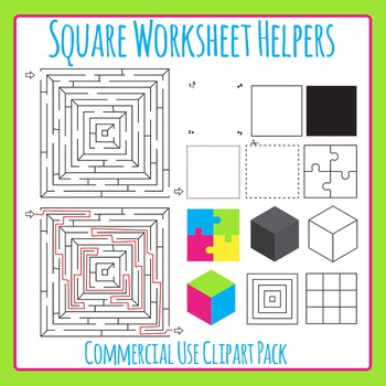 Square Worksheet Helpers Clip Art Set for Commercial Use