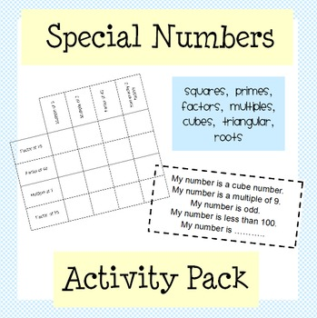 Squares, Primes, Factors, Multiples: Special Numbers Activ