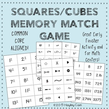 Squares/Cubes Memory Match Game! Great for Early finishers
