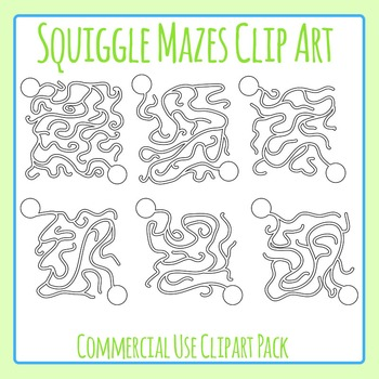 Squiggle Mazes Clip Art Set for Commercial Use