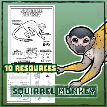 Squirrel Monkey -- 10 Resources -- Coloring Pages, Reading