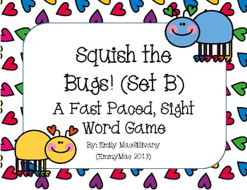 Squish the Bug (Slap it)!! A Sight Word Game for Grade 1 (Set B)