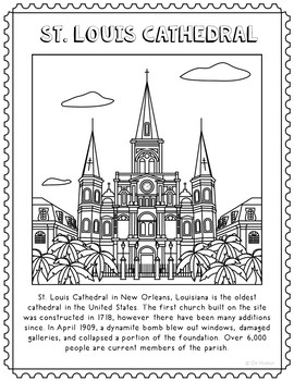 St. Louis Cathedral Informational Text Coloring Page Activ