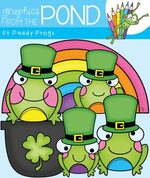 St Paddy Frogs Clipart Set
