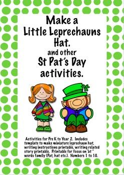 St Pat's Day Freebie Make a Little Leprechaun Hat and writ