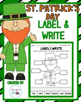 St. Patrick' Day Label & Write a Sentence Activity for K-1