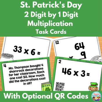 St. Patrick's Day 2 Digit by 1 Digit Multiplication Task C