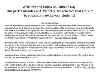 St. Patrick's Day 2nd Grade Scavenger Hunt