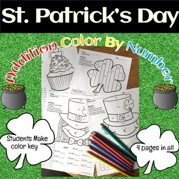 St. Patrick's Day Addition Fact Practice!  Color by Number