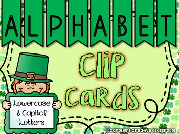 St. Patrick's Day - Alphabet Clip Cards (Lowercase and Upp
