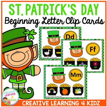 St. Patrick's Day Beginning Letter to Picture Clip Cards