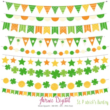 St. Patrick's Day Bunting Banner Clipart Scrapbook Vector