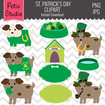 St. Patrick's Day Clipart // Dog Clipart // Kiss Me I'm Ir