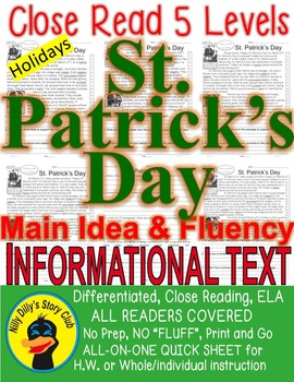 St. Patrick's Day Close Read 5 Levels Info Text Fluency TD