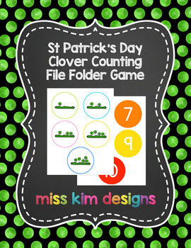 St Patrick's Day Clover Counting File Folder Game for Spec