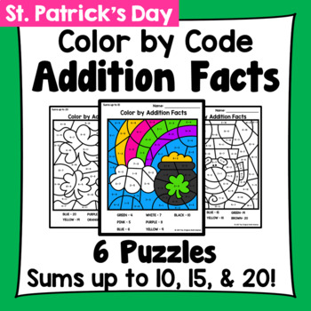St. Patrick's Day Color By Addition Facts: Sums up to 10,