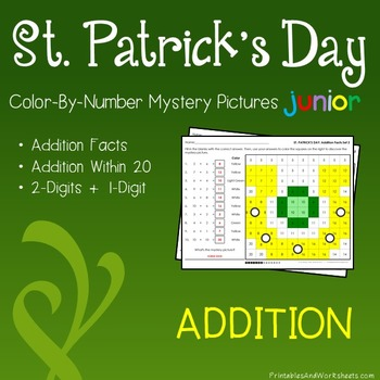 St. Patrick's Day Color-By-Number: Addition (K-2)