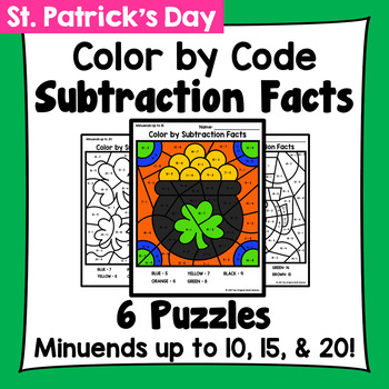 St. Patrick's Day Color By Subtraction Facts: Minuends up