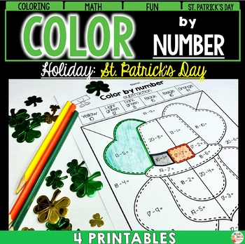 St. Patrick's Day - Color by number - ADDITION - SUBTRACTI