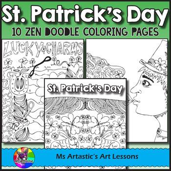 St. Patrick's Day Coloring Sheets. Zen Doodle Pages.