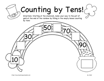 St. Patrick's Day Counting by Fives and Tens Worksheet BUN