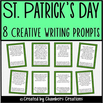 St. Patrick's Day Creative Writing Task Card Prompts- Usin