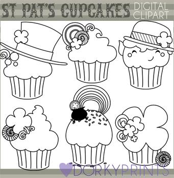St Patrick's Day Cupcake Blackline Clipart
