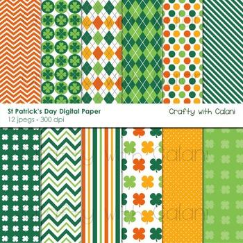 St Patrick's Day Digital Paper and Background Set - 12 hig