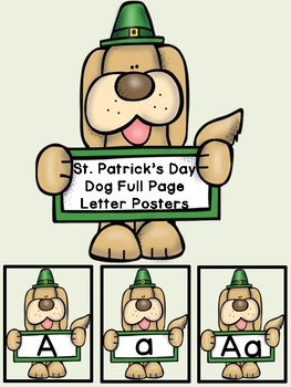 St. Patrick's Day Dog Alphabet Letter Posters Uppercase an