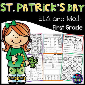 St. Patrick's Day First Grade Math Worksheets and Literacy