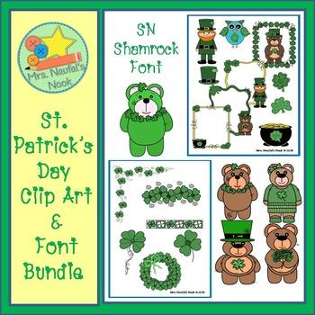 St.Patrick's Day Clip Art & Font Bundle