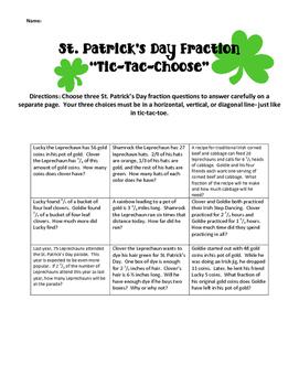 St. Patrick's Day Fraction Leprechaun Tic Tac Choose