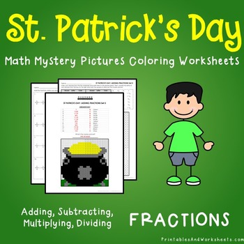 St. Patrick's Day Fractions Coloring Worksheets
