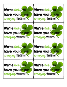 St. Patrick's Day Gift Tags for Team **Sunshine**