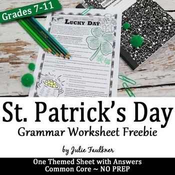 St. Patrick's Day Grammar Worksheet, NO PREP, Middle and H