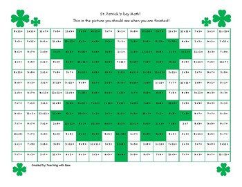 St. Patrick's Day Hidden Picture Math: Multiplication Facts to 12