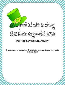 St. Patrick's Day Linear Equations Coloring & Partner Practice