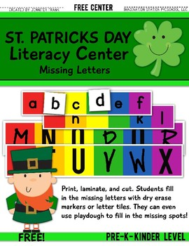 St. Patrick's Day Literacy Center: Missing Uppercase & Low