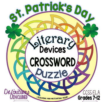 St. Patrick's Day Literary Devices & Terms Crossword Puzzl