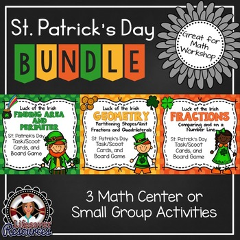 St. Patrick's Day Math Games - Area, Perimeter, Geometry,
