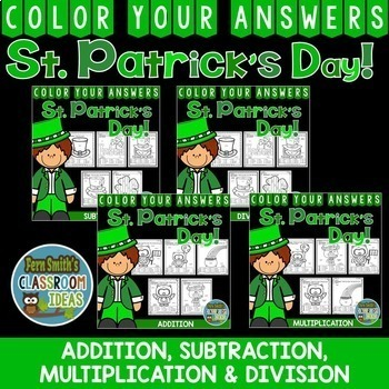 Color By Numbers St. Patrick's Day Addition Subtraction Mu