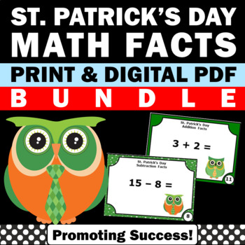 St. Patrick's Day Math Addition & Subtraction Task Cards B