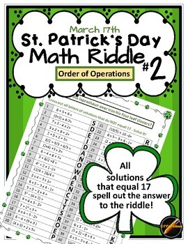 St. Patrick's Day Math Riddle #2: Order of Operations