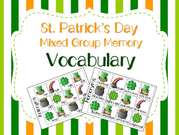 St. Patrick's Day Mixed Group Memory - Vocabulary 20% off