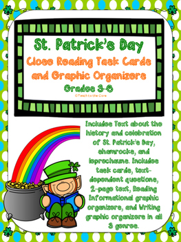 St. Patrick's Day NO PREP Close Reading Task Cards/Graphic