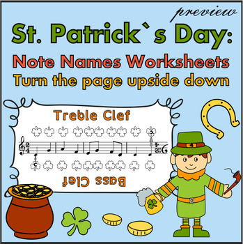 St. Patrick`s Day: Note Names Worksheets. {FREE Preview}