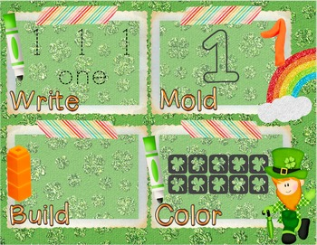 St. Patrick's Day Number Recognition 0-10 Math Center-Writ
