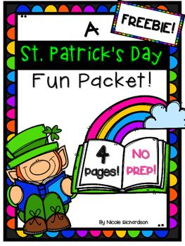 St. Patrick's Day Packet Fun Packet ~ NO PREP ~ FREEBIE!