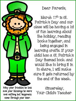 St. Patrick's Week Letter