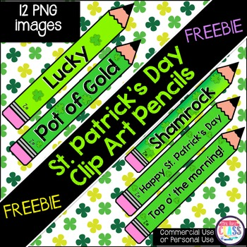 St. Patrick's Day Clip Art 12 PNG Pencils (FREE)